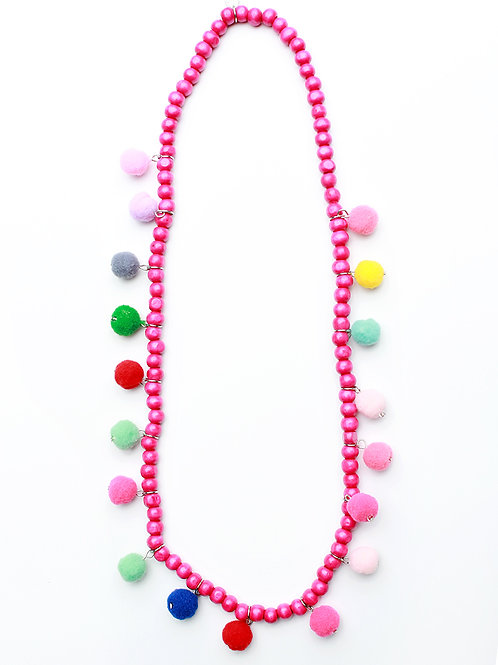 Wooden pom Necklace
