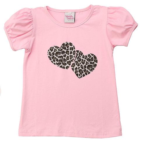 Silver Leopard Hearts Puff Sleeve