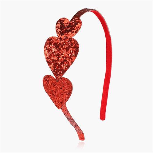 Red Glitter Heart Headband