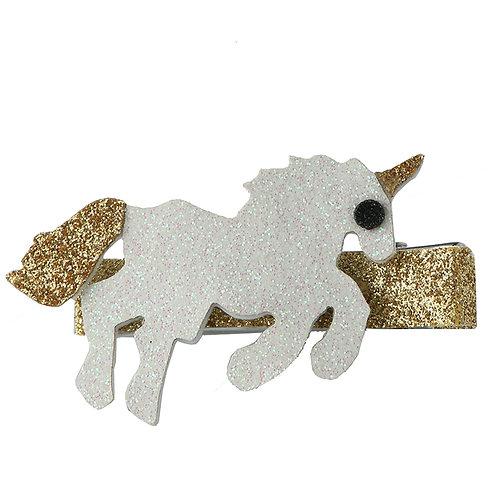 White and Gold Unicorn Clip WS