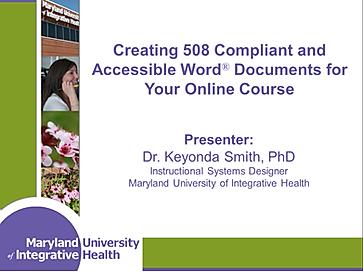 508 Compliant Documents Training