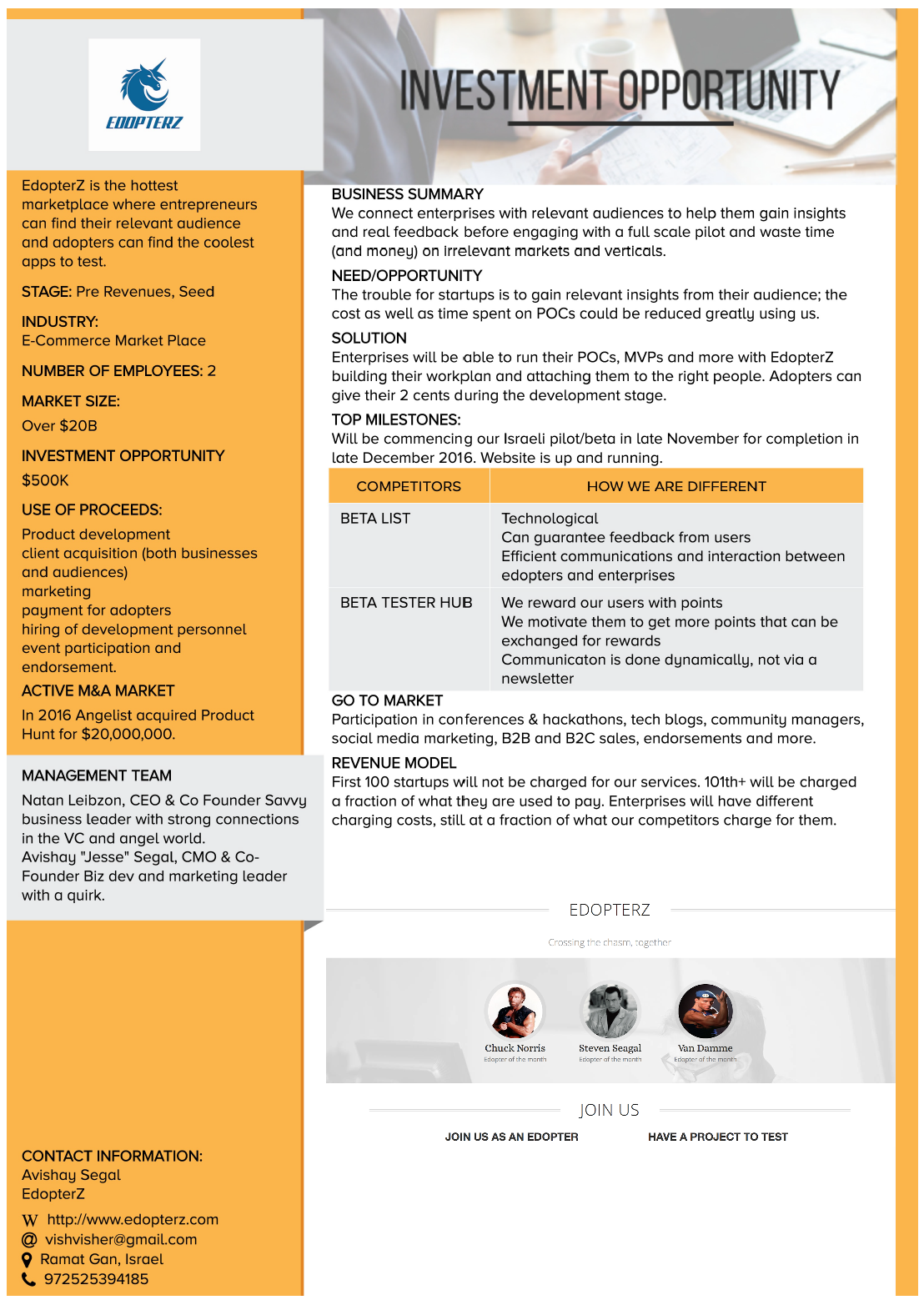 edopterz enhanced design one pager | investor one pager, Powerpoint templates
