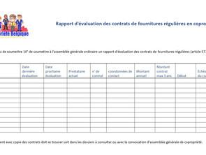 Rapport d'évaluation des contrats de fournitures régulières en copropriété : modèle et obligation AG
