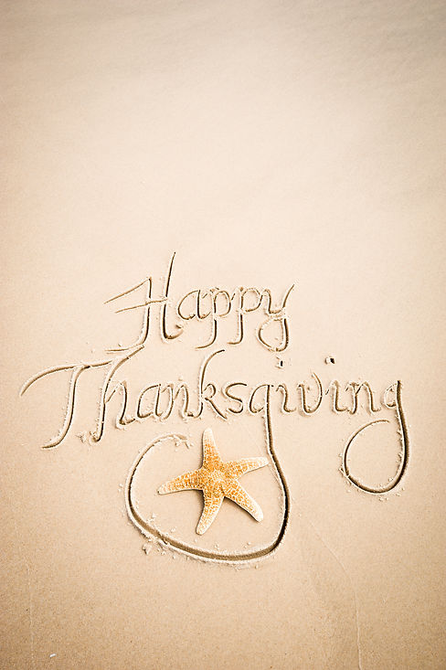 Happy Thanksgiving message handwritten on smooth sand beach with decorative starfish.jpg