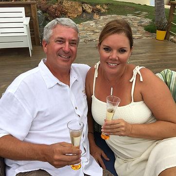 Jim & Kristi at Saba Rock.  Our traditional Veuve Cliquot Champagne toast.