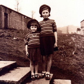 Mom and Antie Eve ~ Evacuation from London during the War~ Lancashire ~ 1940's