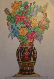 Flowers in a Bowl - Colored Pencils