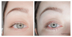 bottom lash- before and after, eyelash extensions