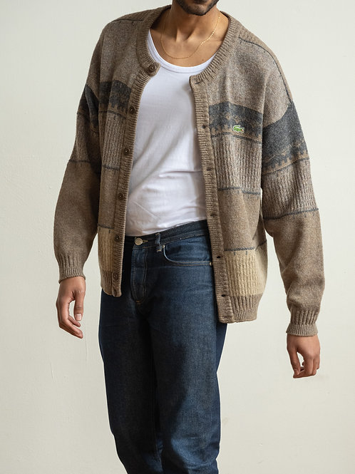 lacoste - brown knitted cardigan