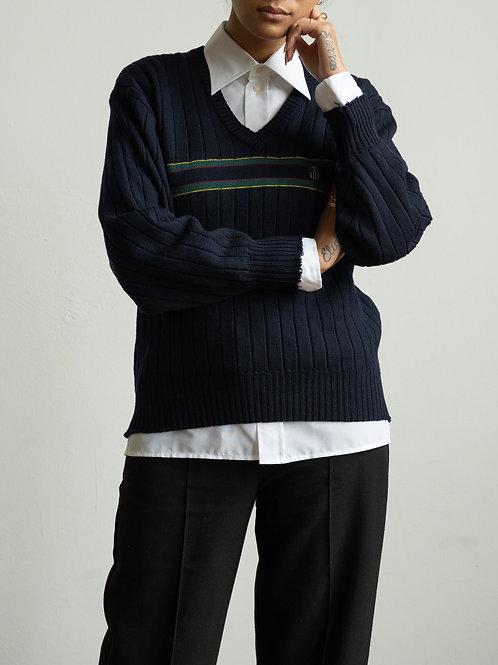 valentino - blue striped v-neck jumper