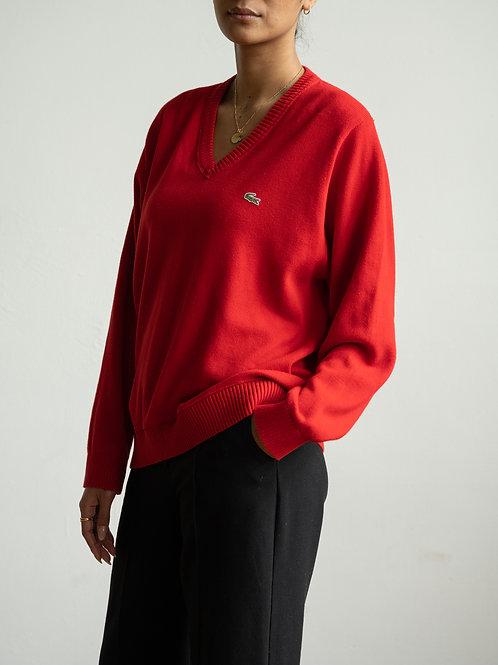 lacoste - red v-neck jumper