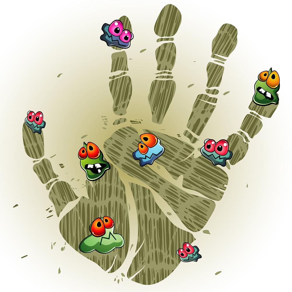 Cartoon image of bacteria on a hand