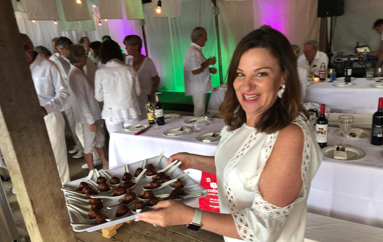 Karen serving appies