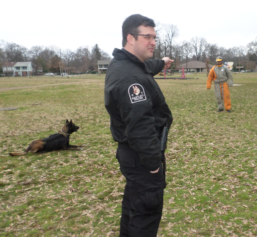 Bartlett Police officers demonstrate how the canine unit works.