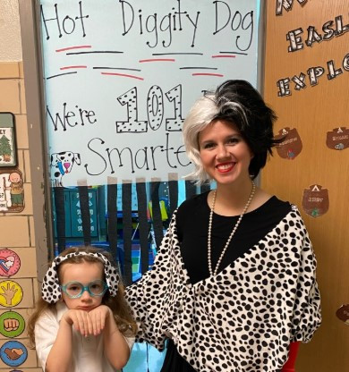 1st grader Saylor Counce with her teacher Ms. Easley