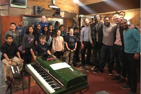Grahamwood students with Boo Mitchell at Royal Studios