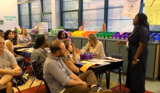 Parents visit classrooms on Meet the Teacher Night