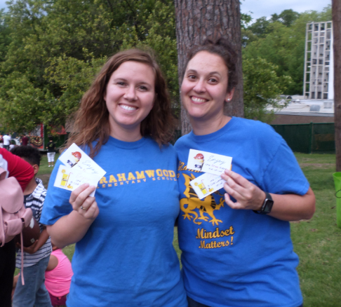 Grahamwood's teachers Emily Easley and Lindsey Rothenbach show off their freebies tickets!