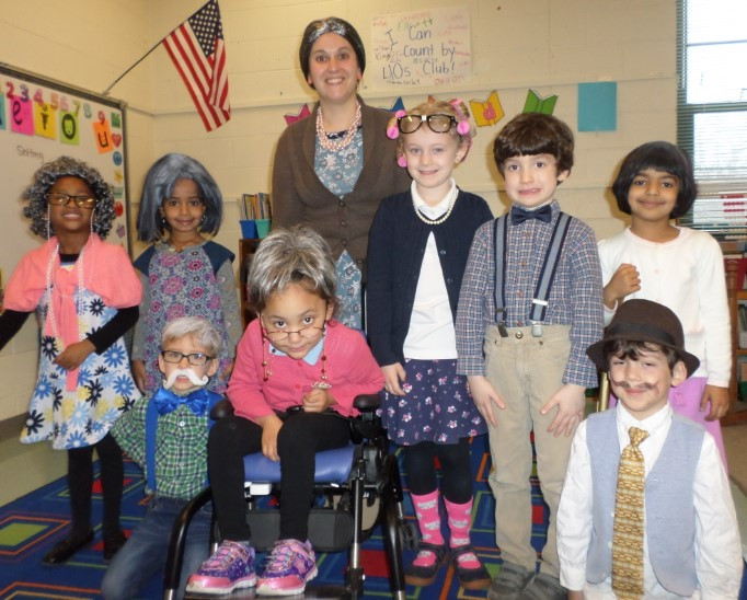 Students with Ms. Rothenbach in her kindergarten class celebrate the 100th Day of School!