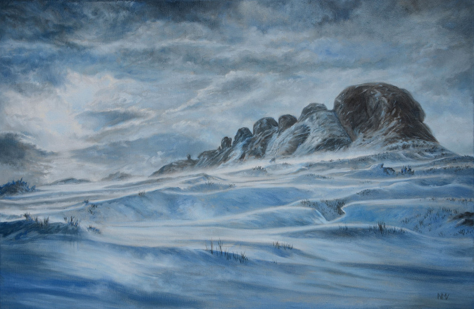 Snowdrifts over Haytor, Dartmoor