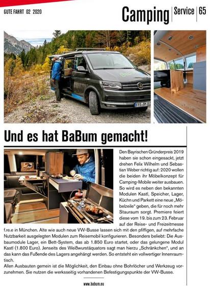 """Artikel über Bayerische Bus Manufaktur I""""Gute Fahrt"""" 2/20"""