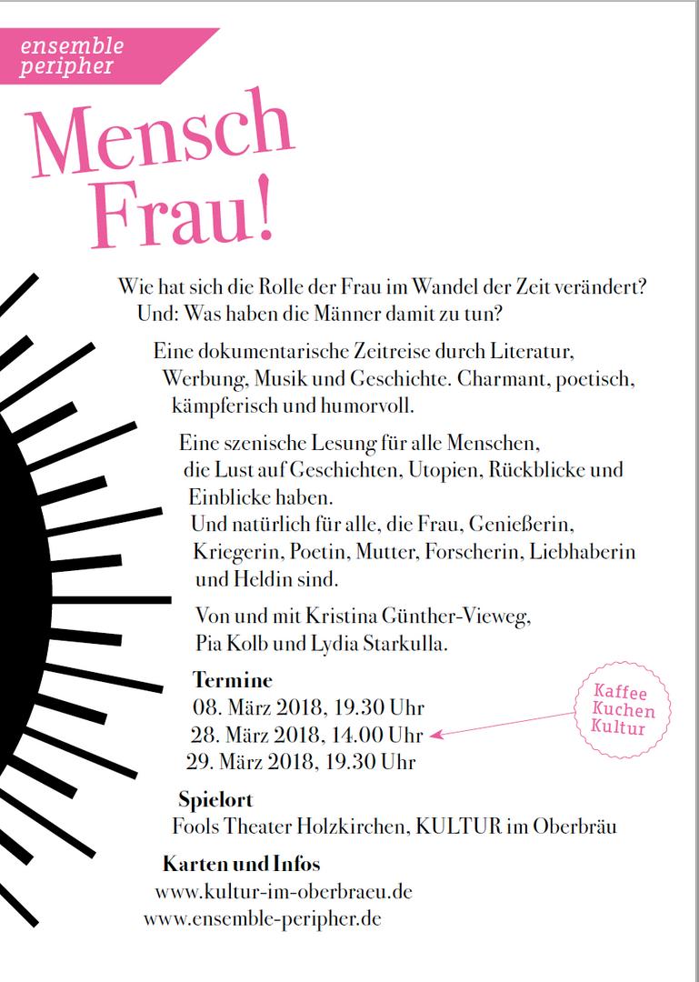 "Flyer Theaterprojekt ""Mensch Frau"""