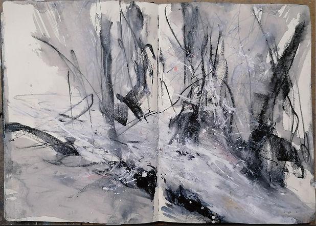 J Kerr, Harridge Woods ands tream, sketchbook study