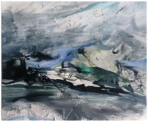 Blowing over Crooie Hill mixed media 15.