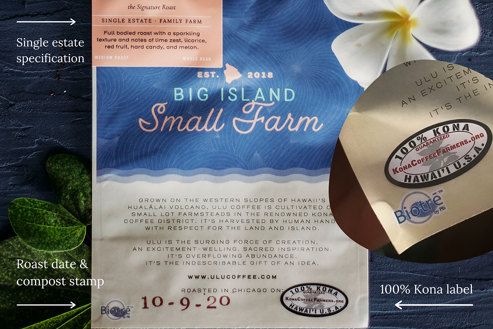 100% Kona coffee bag with labeling details