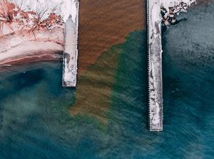lake ontario piers aerial view