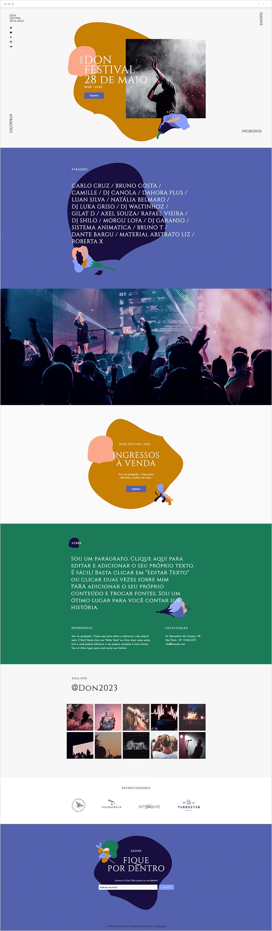 Template para Site de Festival Musical