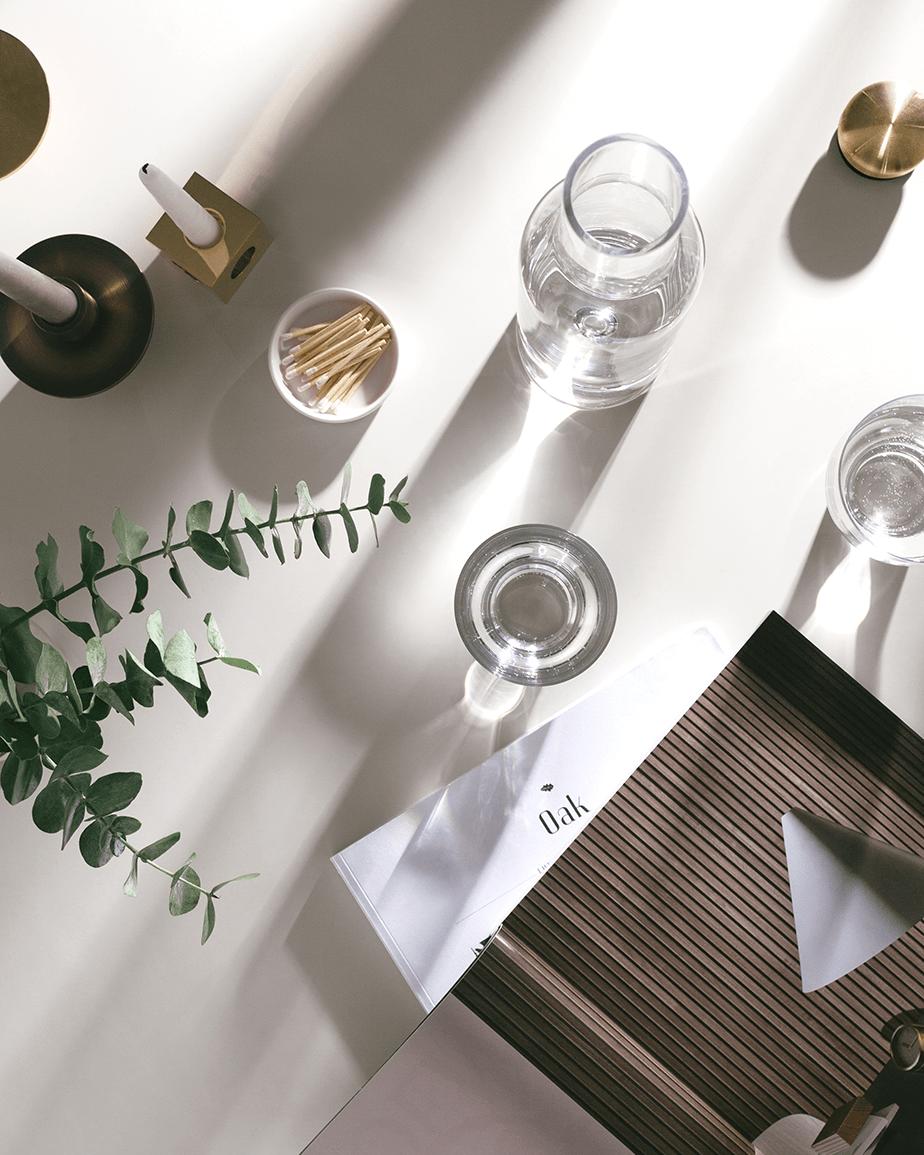 minimalist overshot of restaurant table