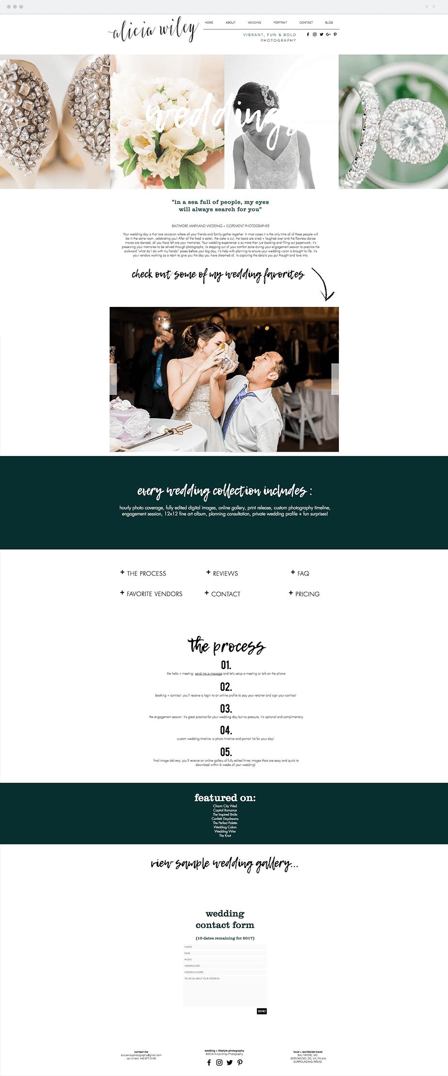 Stunning Wix online portfolio by wedding photographer Alicia Wiley