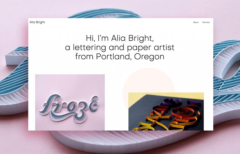 Hand lettering artist Alia Bright's portfolio website designed on Wix
