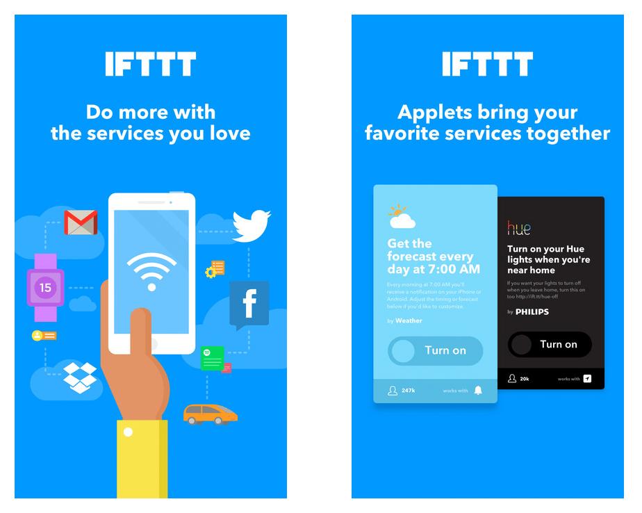 screenshot of IFTTT app
