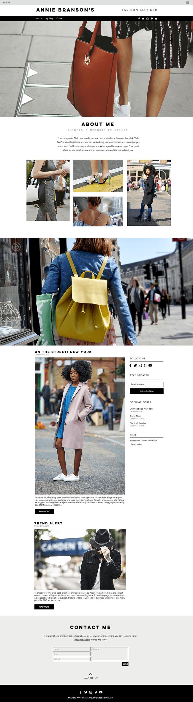 Street Fashion Blog Website Template WIX