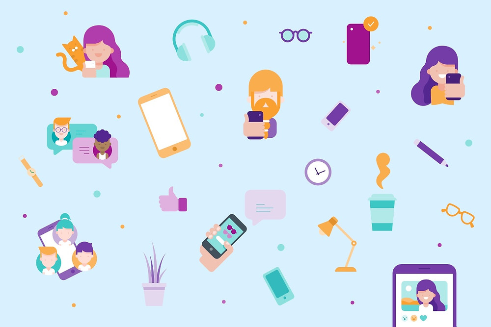 Mobile apps illustrations by Wix