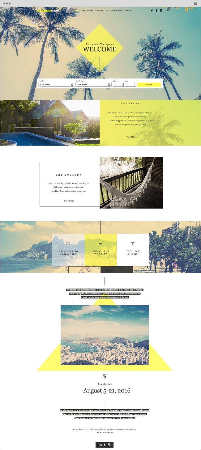 Rio Pousada Mariposa Website Template