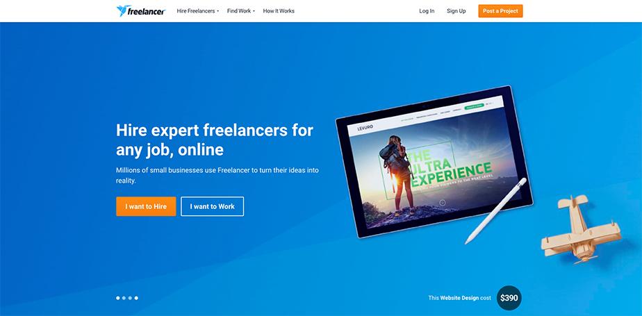 a freelance marketplace landing page