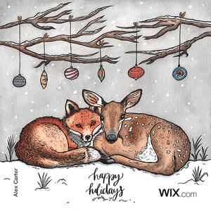 Tarjeta de felicitación navideña gratuita de Alex Carter