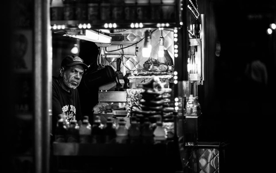 Food truck vendor in NYC at night