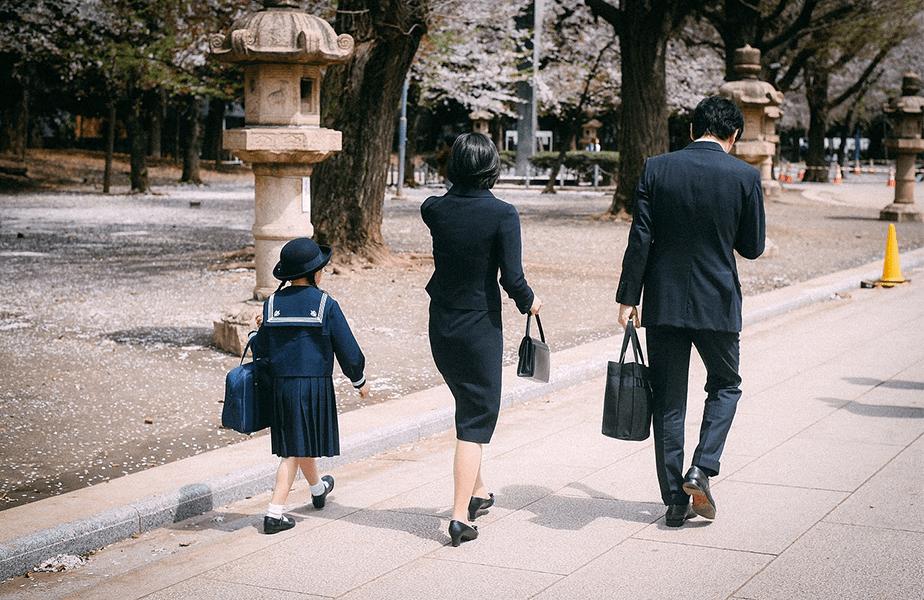 asian family on street