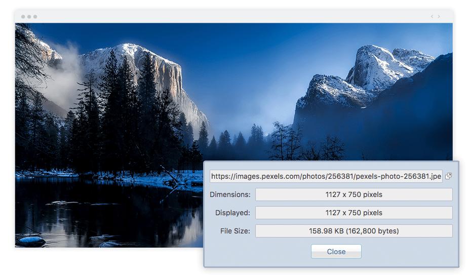 写真家におススメの拡張機能のImage Size Infoスクリーンショット