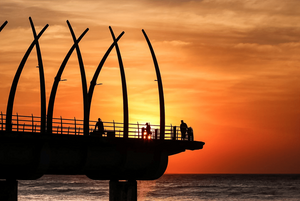 sunset at umhlanga pier