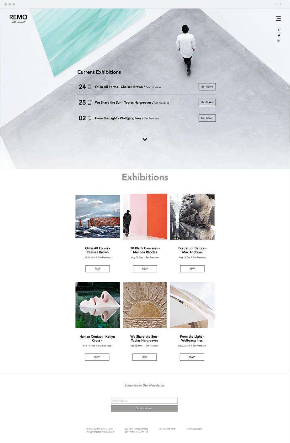 Template Wix Galeria de arte