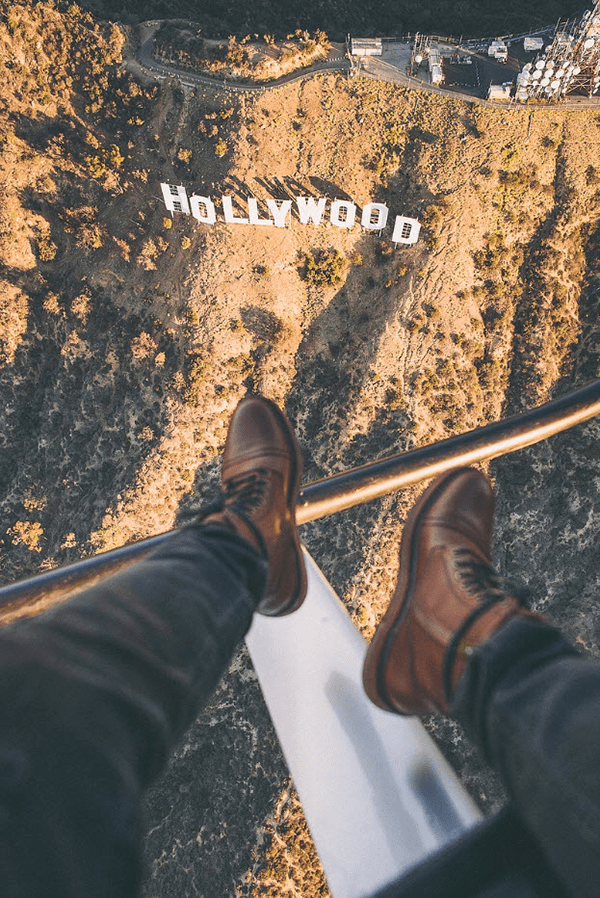 aerial view of hollywood sign from helicopter with feet