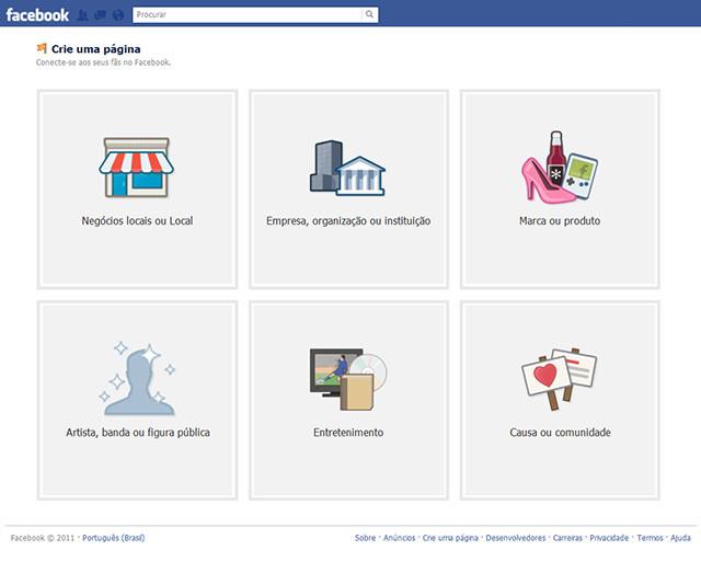 criando uma página no facebook
