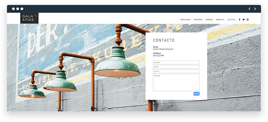 Forma de contacto en una página web