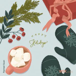 Tarjeta de felicitación navideña de rachael guan