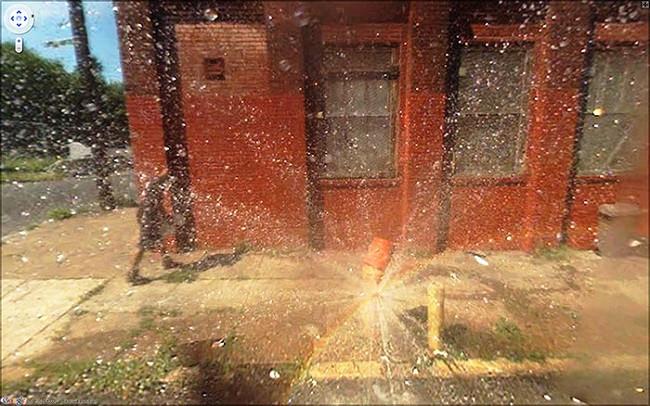 Weird Google Street View: Fire Hydrant Burst